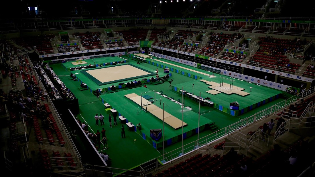 Where London 2012 adopted blue and hot pink as its colours, many Rio events will boast a greener tinge as seen at the artistic gymnastics venue.