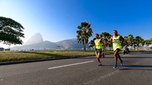 The city's Sugarloaf Mountain is never far from view during outdoor events like the marathon, race walking, and road cycling.