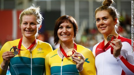 Varnish (far right) poses with bronze medal at the 2014 Commonwealth Games in Glasgow, Scotland.