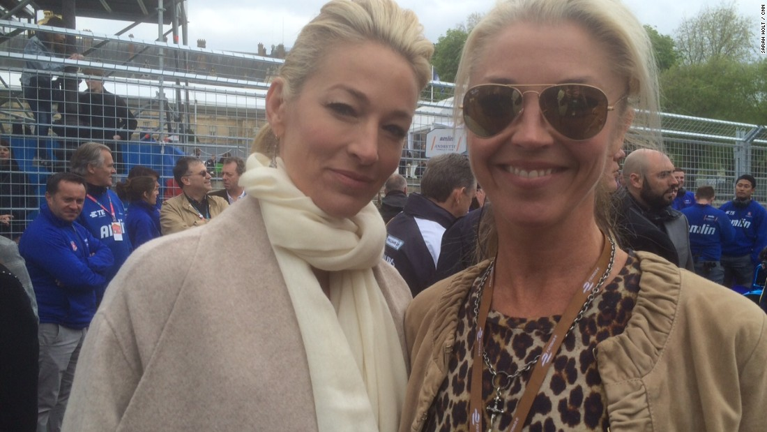 It was standing room only on a stylish Paris starting-grid before the race. Celebrites included model Eva Herzigova and British socialite Tamara Beckwith (pictured right).
