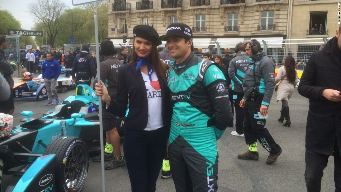 "Formula E's reigning champion Nelson Piquet Jr, seen here with a grid girl wearing a 'I Heart Paris' t-shirt, says: ""Paris has got to easily be in the top-three venues -- maybe the best one."""