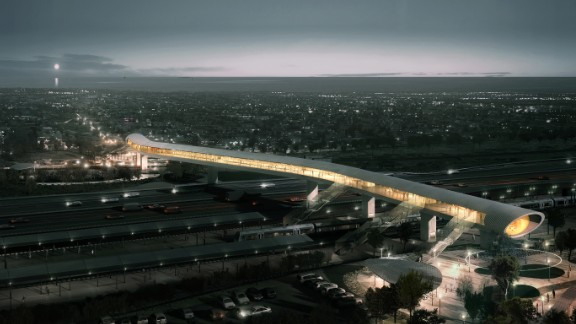 There's more than meets the eye with this structure. The bridge, designed collaboratively by COBE Architects Dissing + Weitling and COWI, includes passageways for both trains and cars, as well as a full station and park-and-ride facilities. It's set to open in 2018.