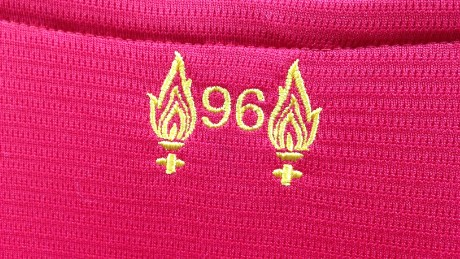 The 2015-16 Liverpool shirt commemorates the 96 lives lost with this stitching below the collar.