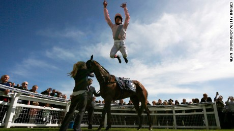 EPSOM, ENGLAND - APRIL 20: Frankie Dettori celebrates after riding So Mi Dar to win The Investec Derby Trial at Epsom racecourse on April 20, 2016 in Epsom, England. (Photo by Alan Crowhurst/Getty Images)