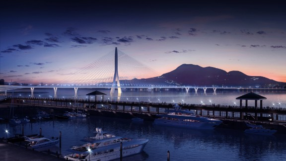 At just over 3,000 ft, the Danjiang Bridge -- one of the last commissions awarded to the late Zaha Hadid -- will be the world's longest single-tower, asymmetric cable-stayed bridge, according to the firm.   The subtle design is meant to have visual impact without obscuring the Taipei sunset.