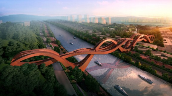 The name and shape of NEXT Architects' Lucky Knot Bridge  refers to the Chinese art of decorative knotting, which is associated with good luck.