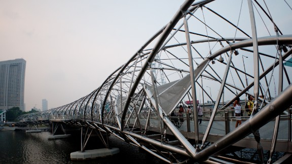 When it opened in 2010, Singapore's Helix Bridge was the first to incorporate the shape of a double-helix. The structure is meant to symbolize life, renewal and growth, and sits near Moshe Safdie's $5.7 billion Marina Bay Sands casino.