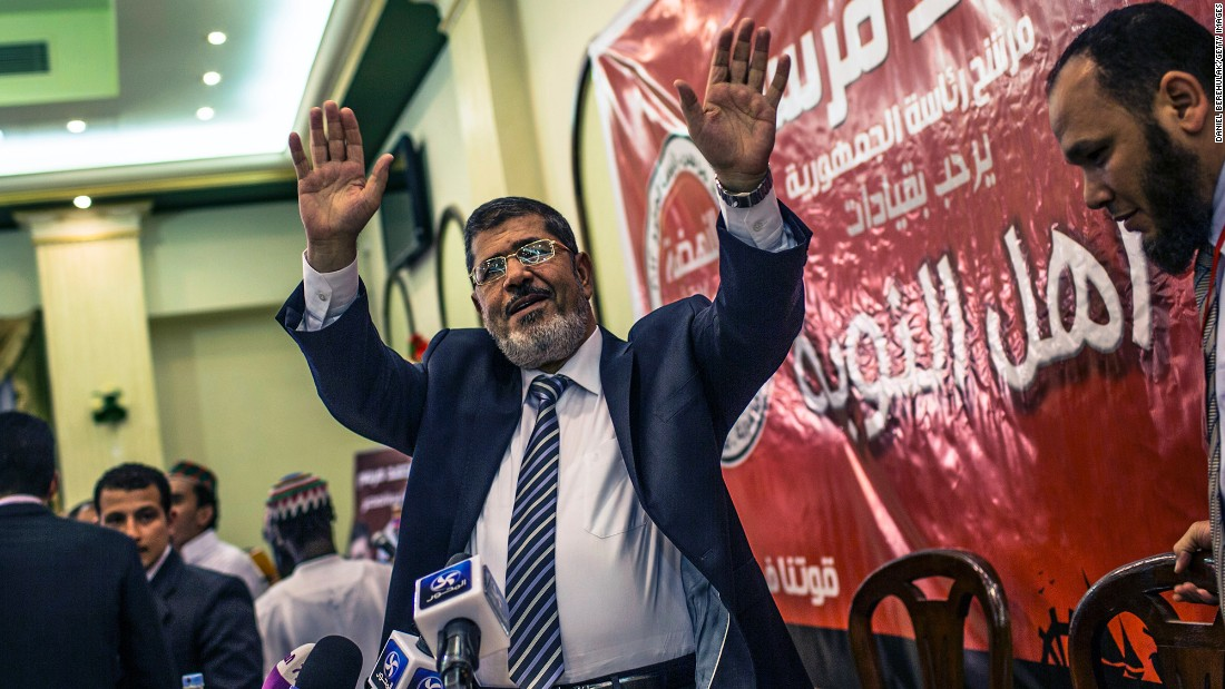 Mohamed Morsy, a former member of the Muslim Brotherhood, becomes Egypt's first democratically elected President in June 2012.