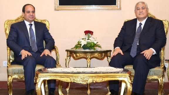 Sisi, left, is sworn in as President on June 8, 2014, with former interim President Adly Mansour.