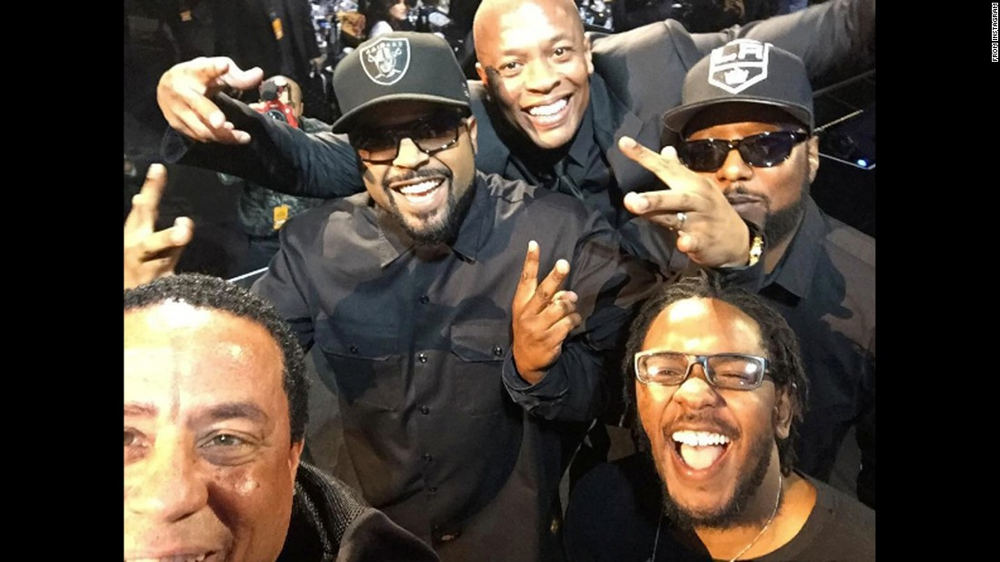 "Rapper Kendrick Lamar, bottom right, <a href=""https://www.instagram.com/p/BD9oH0VTOiT/"" target=""_blank"">inducted N.W.A. into the Rock and Roll Hall of Fame</a> on Friday, April 8. Around Lamar, from left, are DJ Yella, Ice Cube, Dr. Dre and MC Ren."