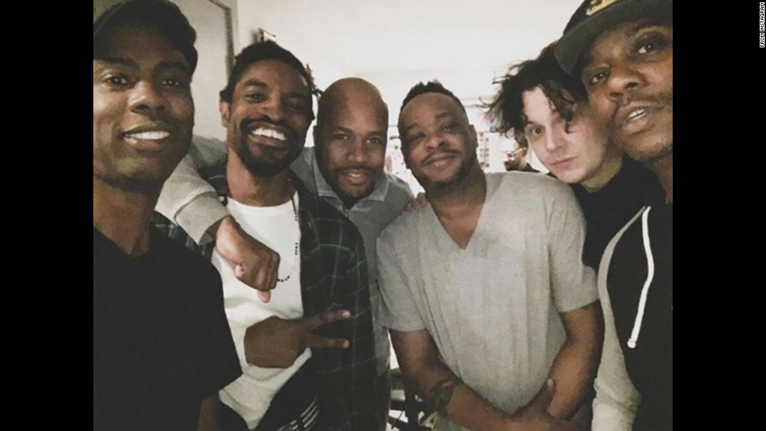 "A star-studded group takes a selfie on Thursday, April 7. From left are comedian Chris Rock, rapper Andre 3000, DJ D-Nice, musician Jarobi White, musician Jack White and comedian Dave Chappelle. ""Hard at work on the new Andre 3000 album,"" <a href=""https://www.instagram.com/p/BD6xtMxim9g/"" target=""_blank"">Rock joked (we think) on Instagram.</a>"