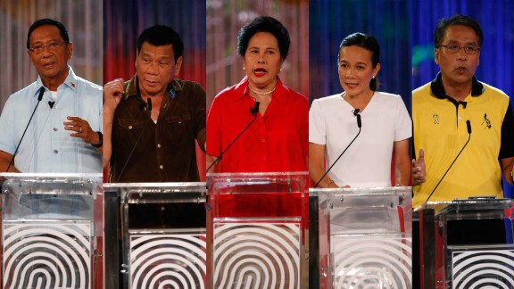 Five candidates are contesting the 2016 Philippines presidential elections. From left to right: Jejomar Binay, Rodrigo Duterte, Miriam Defensor Santiago, Grace Poe and Manuel
