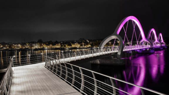 In a rare twist, the Sölvesborg Bridge -- Europe's longest pedestrian bridge at 2480 feet -- was specially enhanced by a lighting design firm rather than an architect. Ljusarkitektur mounted the structure with color-change LED lights.