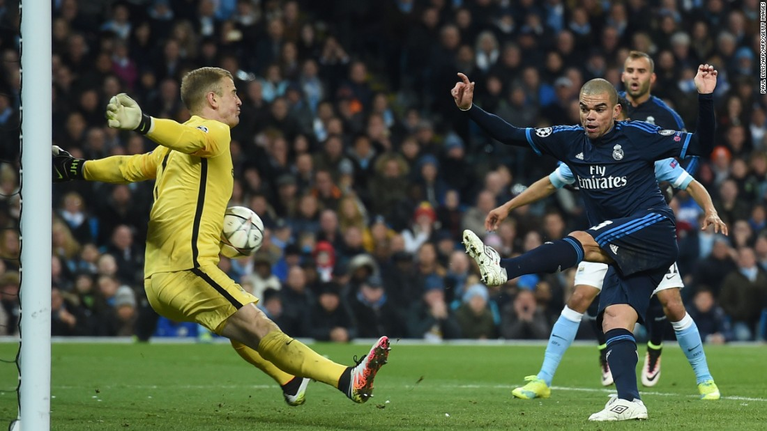 Real edged the second half and only a tremendous block by Joe Hart denied Pepe a crucial away goal.