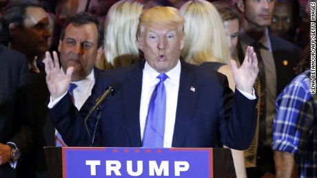 Republican frontrunner Donald Trump speaks at Trump Tower in New York on April 26 after winning primaries in Pennsylvania, Maryland, Connecticut, Rhode Island and Delaware.