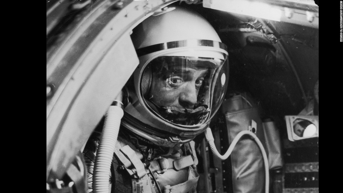 Shepard waits inside his capsule before launch. Complications delayed launch by four hours, and Shepard had to stay strapped in the entire time. There was no easy way for astronauts to urinate at that time, so when nature called, Shepard had no choice but to go in his spacesuit.