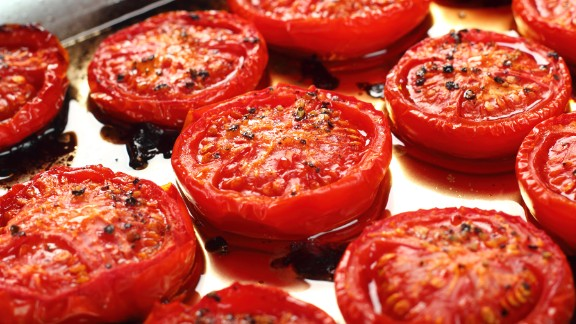Studies show that cutting and heating tomatoes opens up the cell wall of the fruit, which allows greater access to the health benefits of lycopene. Adding a bit of healthy fat, such as olive oil, also helps.