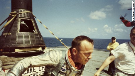 5th May 1961:  American astronaut Alan Bartlett Shepard Jnr shortly after his splashdown in the Atlantic Ocean. Shepard's 15-minute sub-orbital flight to an altitude of 115 miles in the Freedom 7 capsule earned him the title of first American in space.  (Photo by MPI/Getty Images)