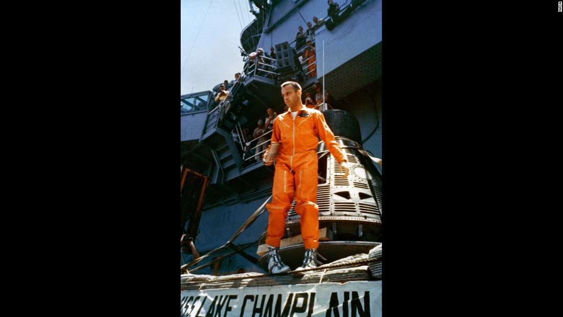 Shepard walks away from his Freedom 7 capsule following a post-flight inspection aboard the aircraft carrier. He would visit space again a decade later, walking on the moon as part of the Apollo program. Shepard died in 1998 at the age of 74.