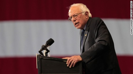 Democratic presidential candidate Bernie Sanders addresses the crowd during a campaign rally at the Big Sandy Superstore Arena,  April 26, 2016 in Huntington, West Virginia.