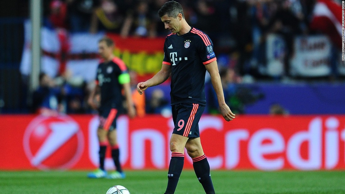 Robert Lewandowski, so prolific for Bayern this season, failed to make an impression against Atletico's miserly defense.