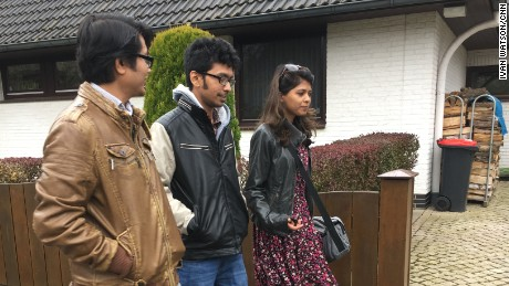 "Exiled Bangladeshi blogger Ananya Azad (center) walks with two fellow ""free-thinkers"" in Germany."