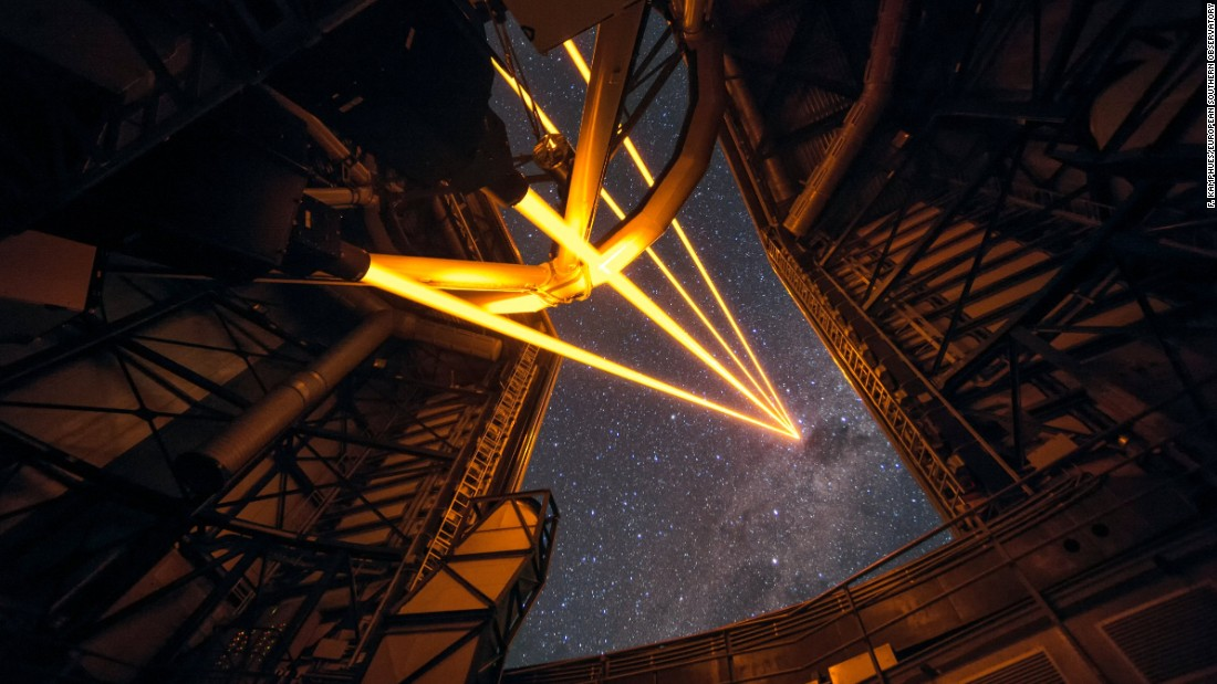 European Space Observatory's Paranal Observatory turned on four powerful lasers during a special event on April 26. This photo shows four beams coming from the new laser system on Unit Telescope 4 of the Very Large Telescope.