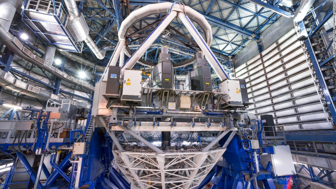 This photo shows the laser system inside Unit Telescope 4 of the Very Light Telescope.