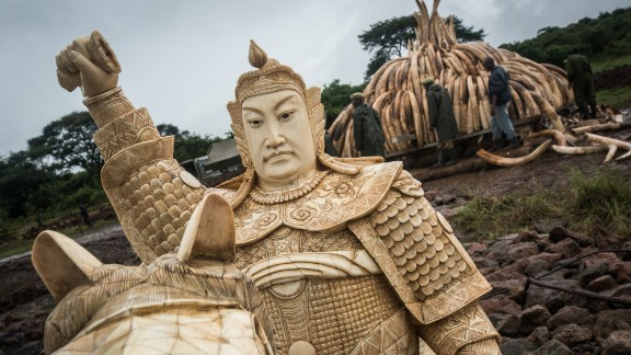 An Ivory statue seized in transit will also be added to the pyre.