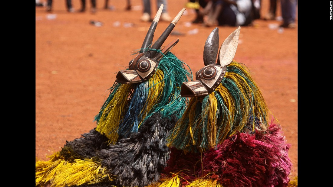 Bwa performers in antelope masks bask in the heat. The Bwa from northeast Burkina Faso retain animist traditions, and mask wearers can fall into a trance-like state when invoking spirits.