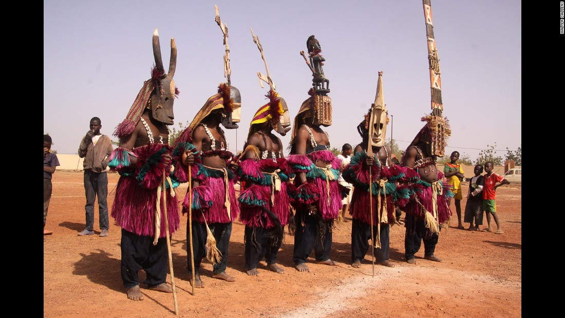 Audiences are able to see performers in Dogon masks from Mali take to the floor at Dedougou's stadium. Masks such as the kanaga and santimbe (center) are intended to ensure the passage of the dead into the realm of the ancestors, whilst the sirige (right) has been argued to symbolize a multistory house.