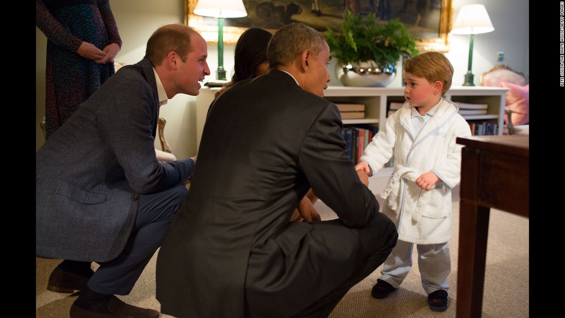 "Britain's Prince George shakes hands with U.S. President Barack Obama, who was visiting Kensington Palace in London on Friday, April 22. <a href=""http://www.cnn.com/2016/04/21/politics/gallery/obama-saudi-europe-trip/index.html"" target=""_blank"">See more photos from the Obamas' trip to the United Kingdom, Germany and Saudi Arabia</a>"