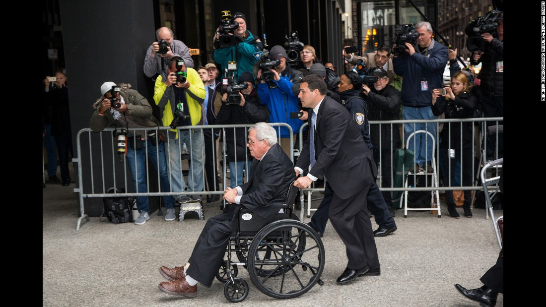 "Former U.S. House Speaker Dennis Hastert is wheeled into a Chicago courthouse on Wednesday, April 27. <a href=""http://www.cnn.com/2016/04/27/politics/dennis-hastert-sentencing/"" target=""_blank"">He was sentenced to 15 months in prison</a> in a hush-money case that revealed he was accused of sexually abusing boys as a teacher in Illinois. He was also ordered to pay $250,000 to a victims fund."