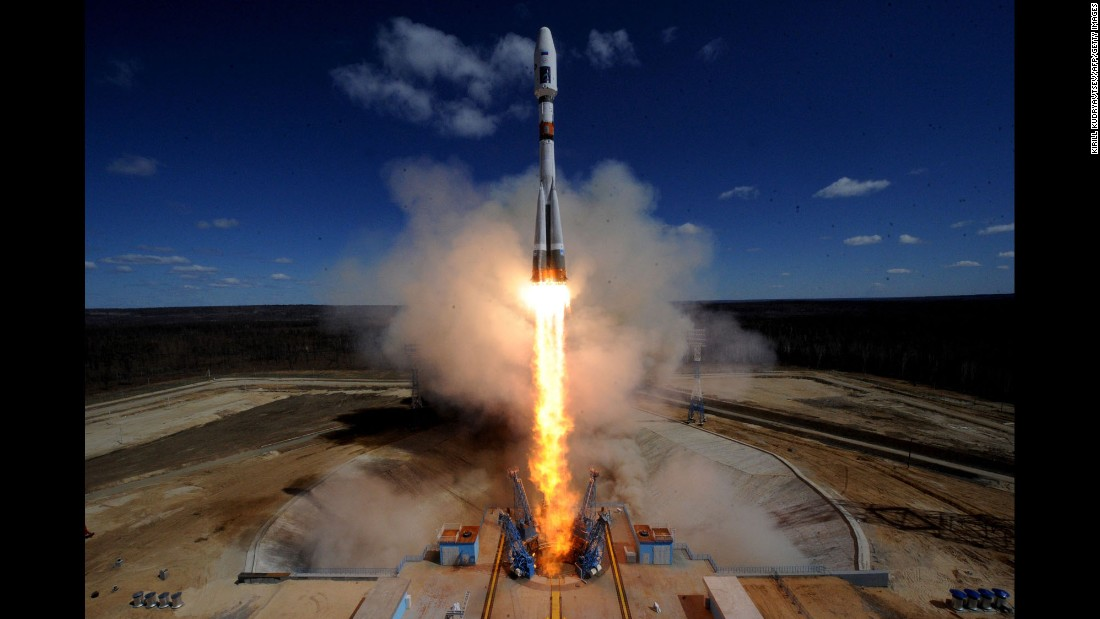 A rocket carrying satellites lifts off from a cosmodrome outside Uglegorsk, Russia, on Thursday, April 28.