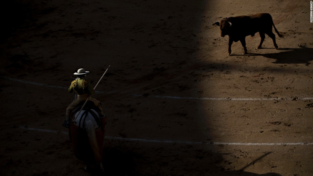 A picador prepares to use his lance during a bullfight in Madrid on Sunday, April 24.