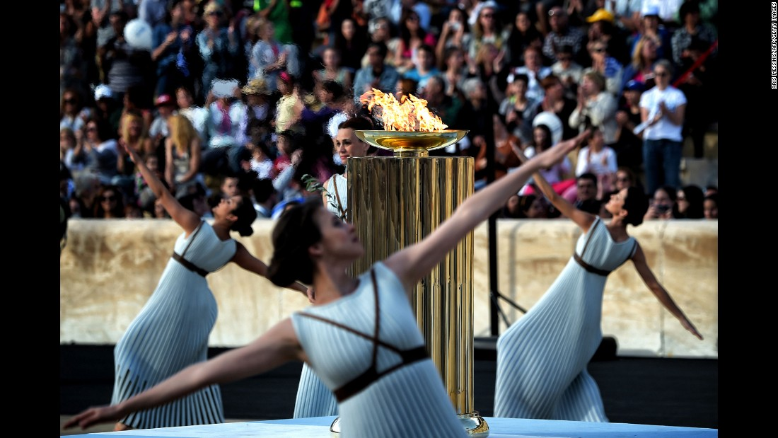 The Olympic flame burns in Athens, Greece, during a handover ceremony on Wednesday, April 27. The flame is bound for Rio de Janeiro, which hosts the Summer Games in August.