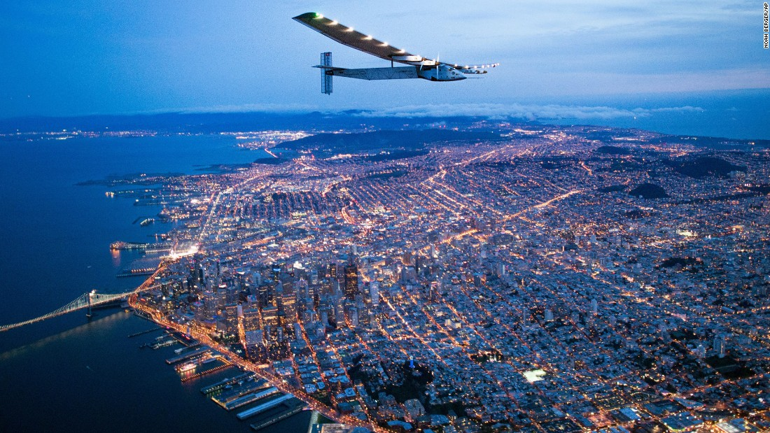 "The Solar Impulse 2 flies over San Francisco on Saturday, April 23. The solar-powered airplane, flying around the world without a single drop of fuel, <a href=""http://www.cnn.com/2016/04/24/travel/solar-impulse-2-plane-california/index.html"" target=""_blank"">landed in California</a> after a two-and-a-half-day flight across the Pacific Ocean."