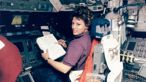 A recent paper highlighted the option of Long-acting Reversible Contraceptives (LARCs), which would reduce the need to carry thousands of pills on longer missions, such as a three-year mission to Mars. Pictured, American astronaut Eileen Collins became the first woman to pilot a space shuttle in 1995 and was the first female shuttle Commander in 1999.