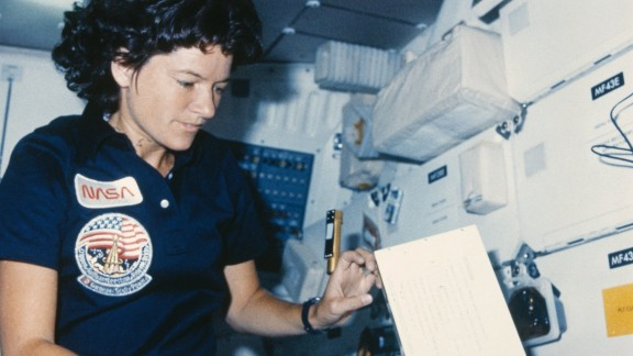 Despite the lack of gravity, periods happen normally in space and do not cause 'reverse flow' as once feared. Pictured, NASA astronaut Sally Ride (1951 - 2012) is pictured inside the Challenger space shuttle in which she became the first American woman in space in 1983 -- 20 years after Valentina Tereshkova.