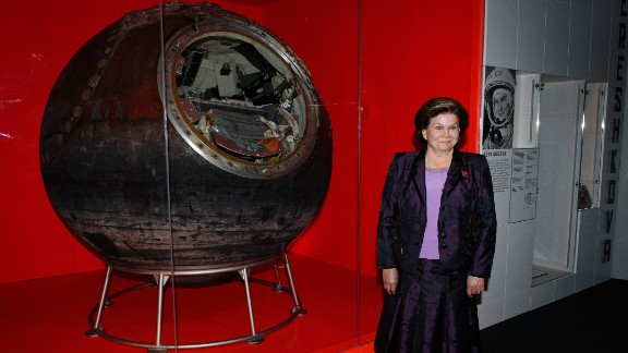Here Tereshkova poses with the Vostok 6 capsule she piloted over 50 years ago. Her space flight lasted 2 days, 22 hours and 50 minutes.
