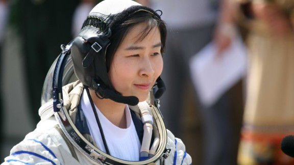As women began going into space for lengthier amounts of time the management of menstrual cycles became an important issue. Pictured, Liu Yang, China's first female astronaut who blasted off into space in 2012.