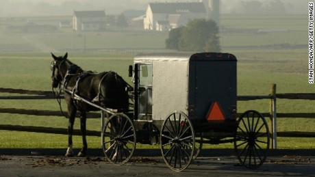 An Amish horse-drawn buggy.