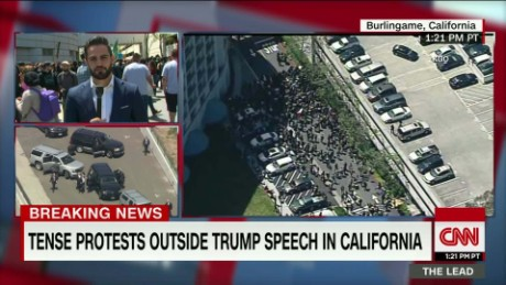 Tense protests outside Trump speech in California