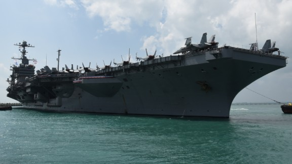 160419-N-OU129-071 SINGAPORE (Apr. 19, 2016) The aircraft career USS John C. Stennis (CVN-74) arrives at Changi Naval Base in Singapore for a regularly scheduled port visit.  During the visit, Stennis personnel will visit and engage with the Republic of Singapore Navy and conduct cultural exchanges with the people of Singapore. (U.S. Navy photo by Mass Communication Specialist 3rd Class Joshua Fulton/Released)