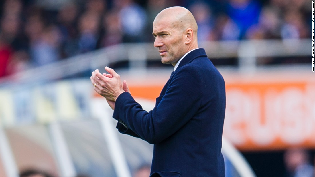 Manager  Zinedine Zidane of Real Madrid reacts during the La Liga match between Real Sociedad and Real Madrid.