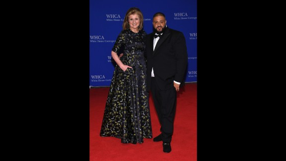 Arianna Huffington and DJ Khaled pose on the red carpet. The dinner is Washington's annual opportunity to pretend it's hip. Reporters mingle with Hollywood stars, top sports figures, business leaders, administration officials and lawmakers who normally avoid the press.