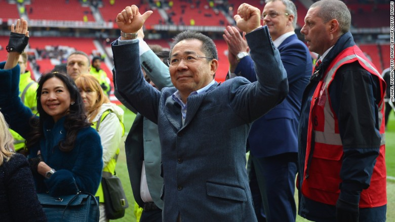 Vichai Srivaddhanaprabha cheers after the Barclays Premier League match between Manchester United and Leicester City in 2016..