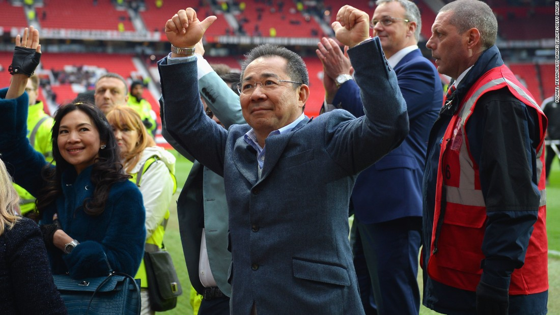 Leicester's Thai owner Vichai Srivaddhanaprabha was at Old Trafford to watch the game.