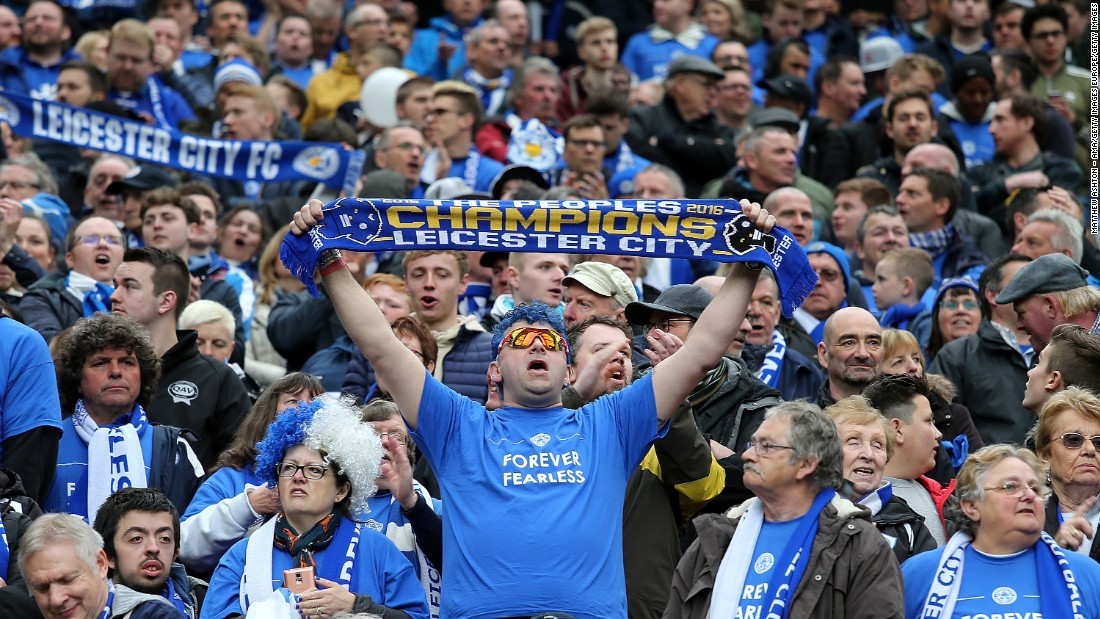 Leicester fans show their support for Ranieri's team at Old Trafford.