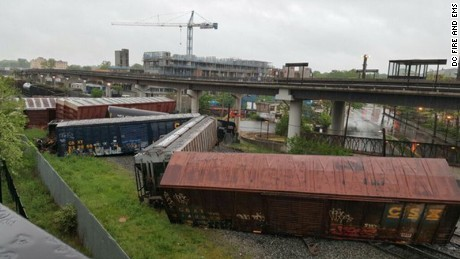 A CSX train derailed in Washington early Sunday.